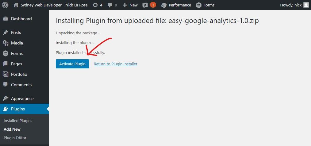 Installing a wordpress plugin tutorial - Step 3